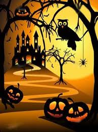 haunted house, owl, spider and jack-o-lanterns