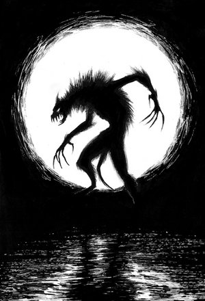 Werewolf in the light of a full moon